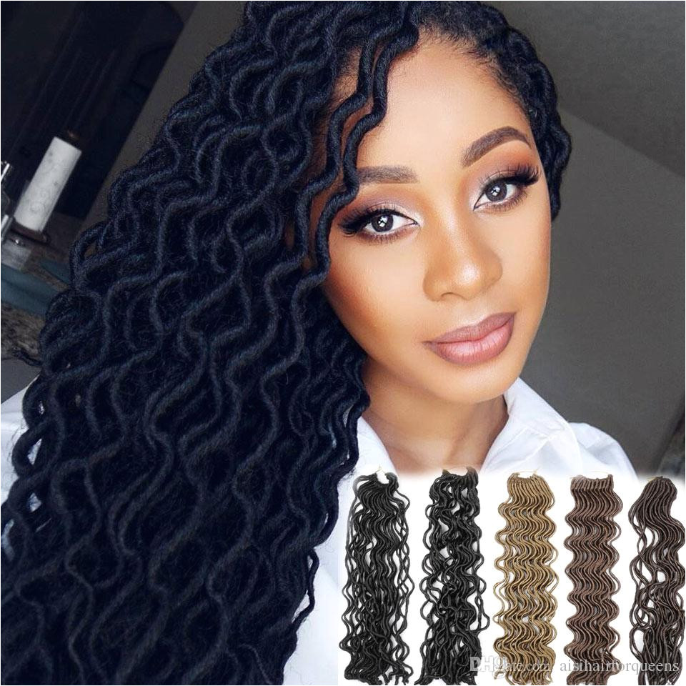 24 Strands Pcs Faux Locs Curly Crochet Braids Soft Locks Hair 20 Inch Heat Resistant Synthetic Hair Extension Crochet Braids Hair Pure Color Crochet