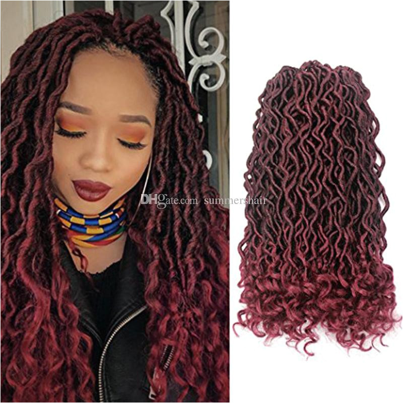2018 Faux Locs Curly Crochet Hair 24Strands Pack Synthetic Dreadlocks Hair Extensions Ombre Kanekalon Crochet Braids 18inch Freestyle Hair From Summershair