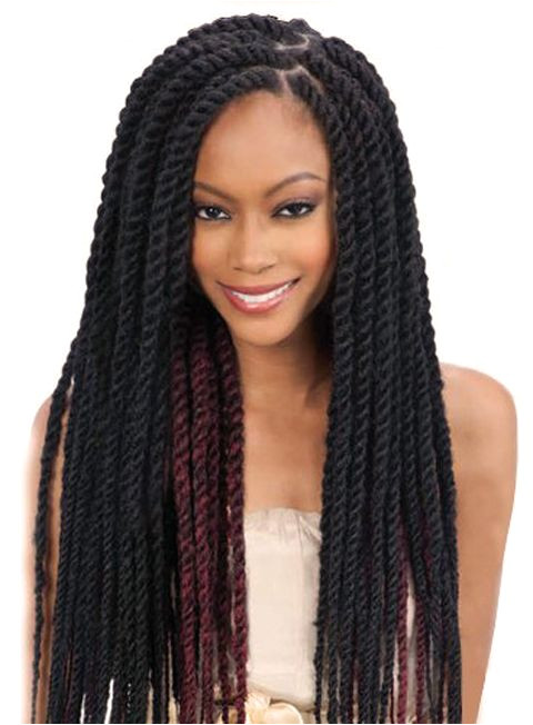 Long Thick Twist Cuban Braids Braid Hair Style African American Women La s Hairstyle Black Dark Red