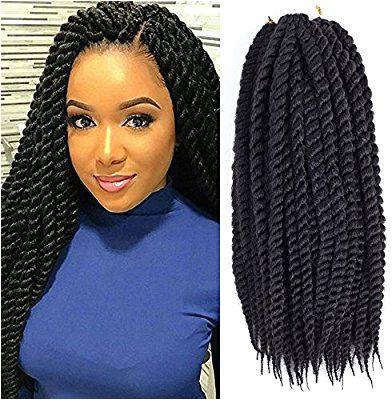 "Amazon Dingxiu 6 Packs 18 inch Havana Mambo Twist Crochet Hair Braids Senegalese Twist Crochet Braiding Hair 18"" 1B Beauty"