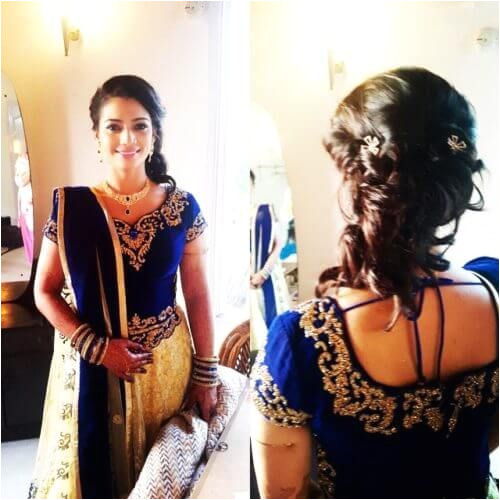 Loose bun hairstyle for lehenga choli