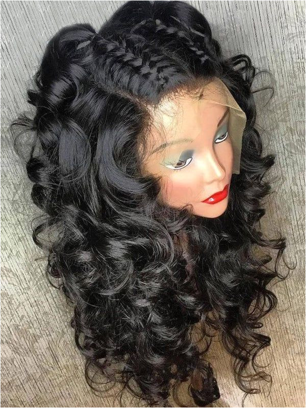 Medium Free Part Fluffy Curly Human Hair Full Lace Wig BLACK