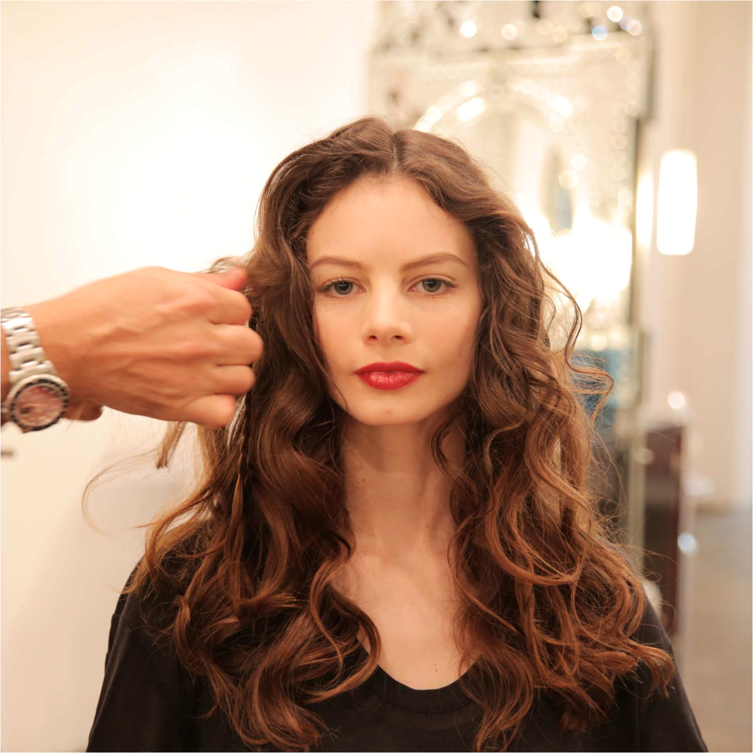 How to Get Perfectly Slept In Messy Curls mousse side braid headpiece