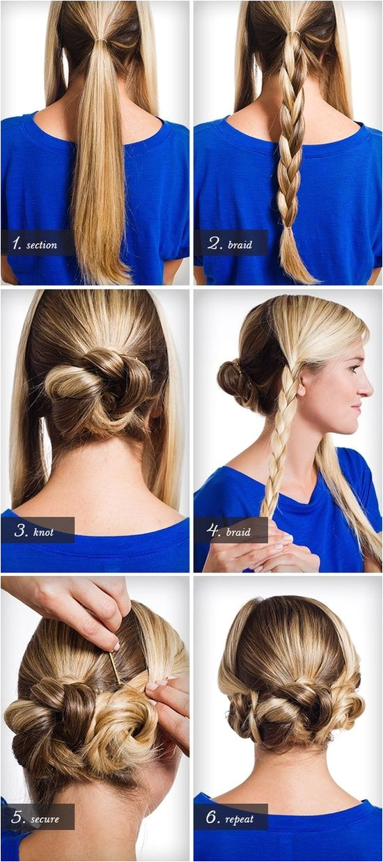 Back central braid coiled into a bun and two side braids tucked up next to it So cute And better yet no french braiding to confound me I could do this