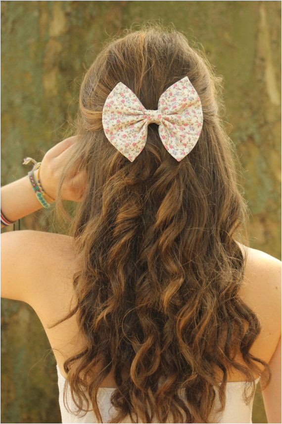Small floral print hair bows Hair bows for women and teens Big bows me like mucho Hair Design in 2018