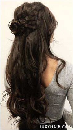 Braided Rose Half Up Do using Luxy Hair Extensions in the shade Dark Brown