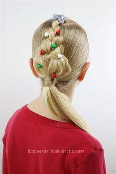 For an easy Christmas hairstyle try this cute Christmas Tree Braid from BabesInHairland