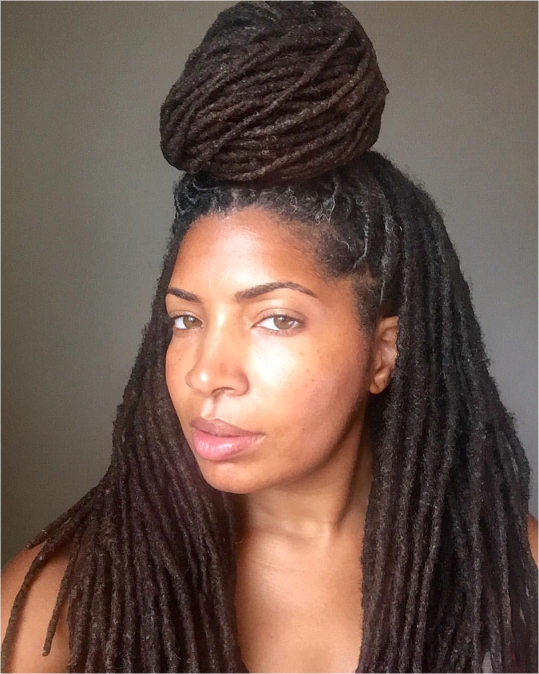 See this Instagram photo by loccrush • top knot High bun Lock bun Women s hair Long locks Lock hairstyles Locs