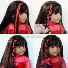 Side Braid With Christmas Ribbon American Girl Doll Hairstyle American Girl Crafts American Doll Clothes