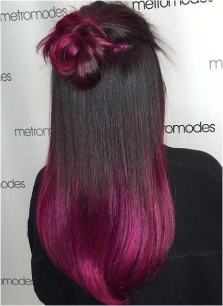 7 Sleek Fuchsia Ombre for Black Hair e of the most beautiful ways for a girl with black hair to rock the trend is to go for a b…