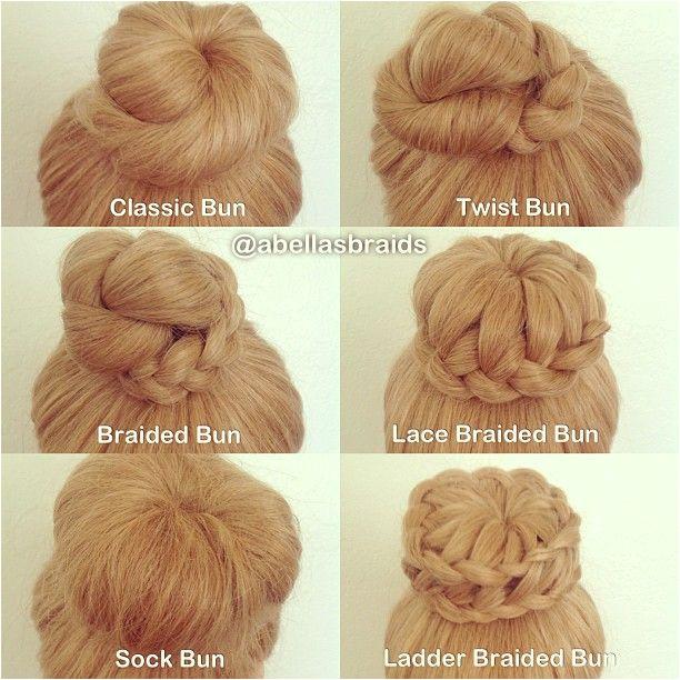 Six different types of high bun