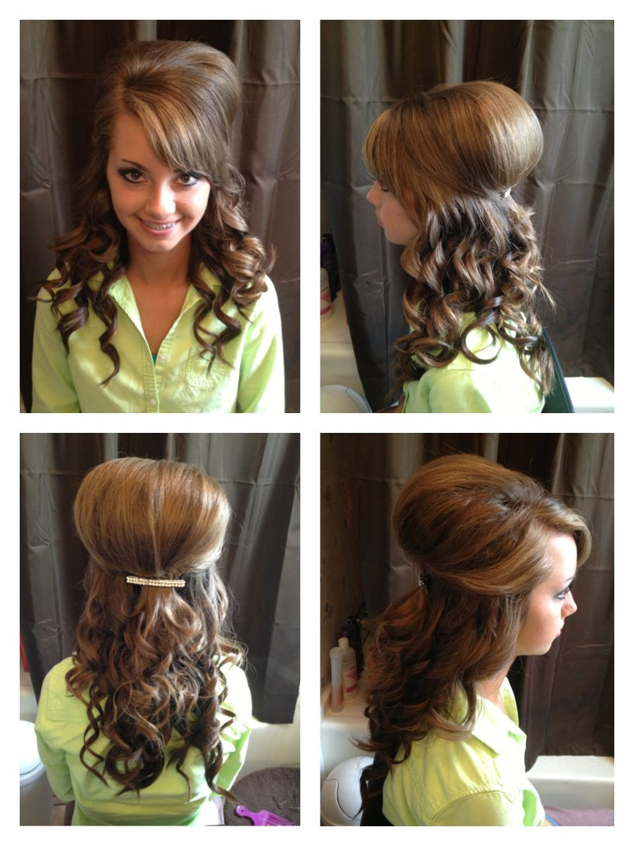 Cute Hairstyles Using A Curling Iron Teased and Curly Half Up Do Home Ing Hair Hair