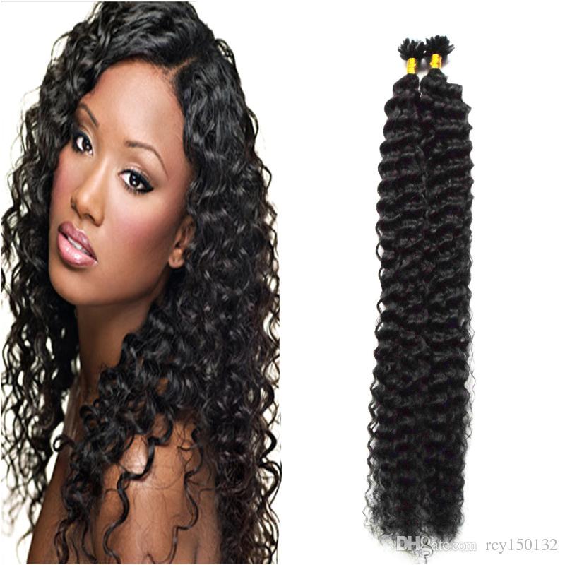 Deep U Haircut for Curly Hair Brazilian Deep Curly Natural Black Human Hair U Tip Hair Extensions