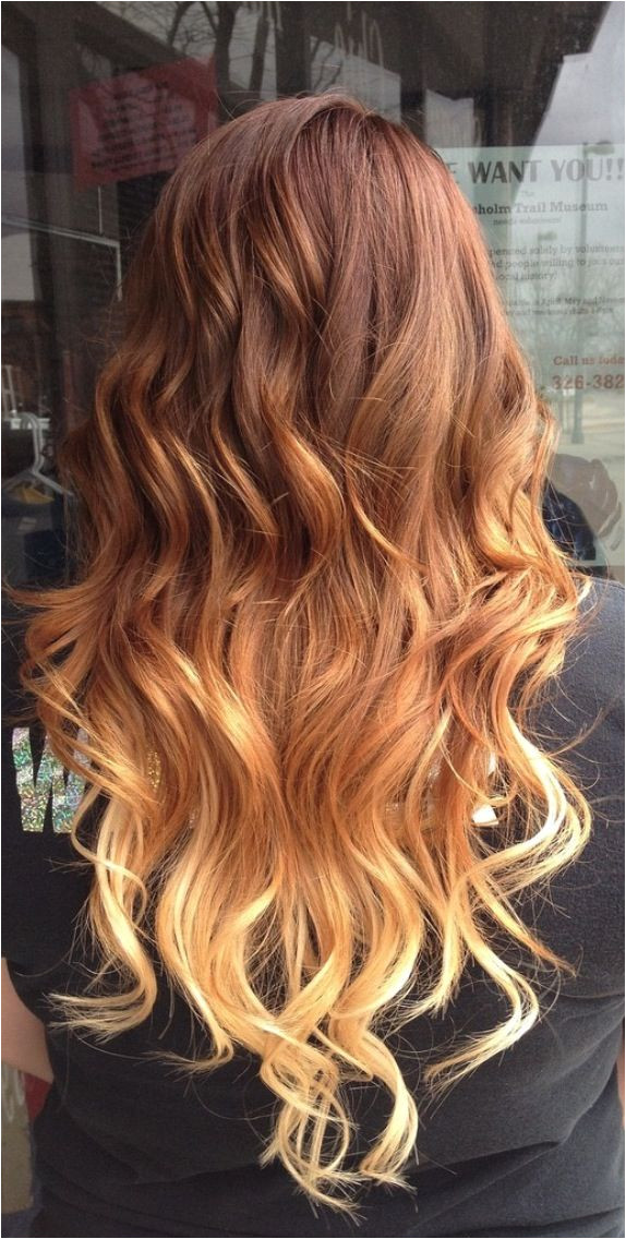 Red to Blonde Ombre Hair for Long Hair I think this is my favorite ombre I ve seen I would love to dye my hair these colors if it weren t for my