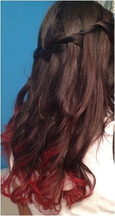 Dip Dye Hairstyles Pinterest Red Dip Dye and Waterfall Braid Hair In 2018 Pinterest