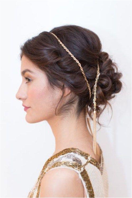 Greek style updo for beach wedding Such updos with a whimsical interlacement of twists and curls imply usage of double headbands
