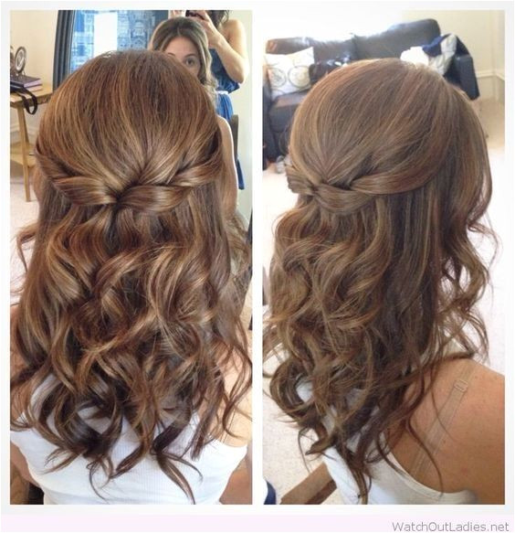 Half Up Half Down Hair with Curls Prom Hairstyles for Medium Length Hair
