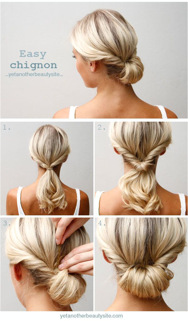 A twist a flip and a couple of pins great for medium length hair