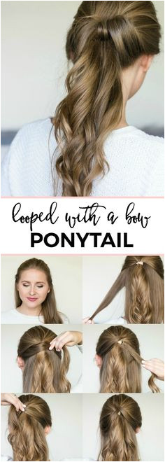 Looped with a bow ponytail easy 5 minute hair tutorial