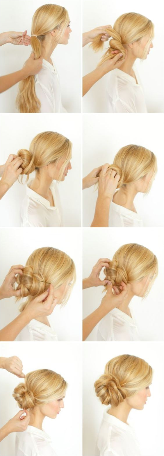 Pretty Side Bun Hairstyle for Long Hair Step by step photo tutorial Difficulty easy with help