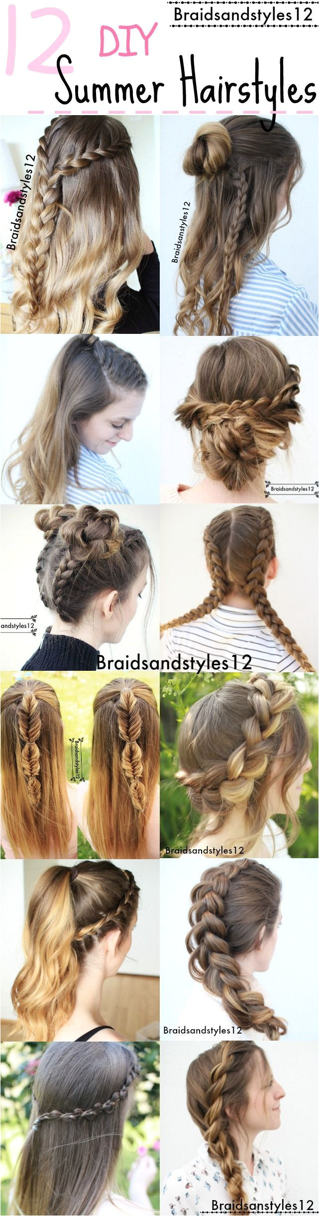 12 Gorgeous DIY Summer Hairstyle Ideas by Braidsanstyles12 Beachy Hairstyles by Braidsandstyles12 beautyhairstyles · Fast HairstylesSchool