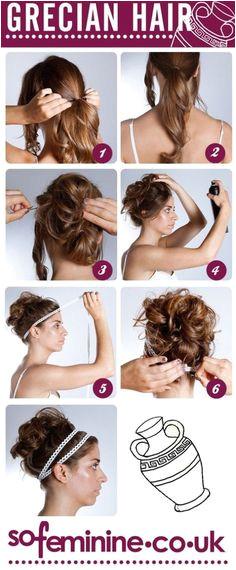 DIY Grecian Hairstyle Grecian Hairstyles Pretty Hairstyles Roman Hairstyles Greek Goddess Hairstyles