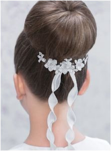Modern & Chic Floral First munion Hair b with Ribbon Trails for Bun or Updo Hairstyle Emmerling