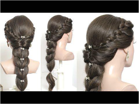 Cute Braided Hairstyle For Long Hair Tutorial BunHairstyleBridesmaid Weddinghairstyles