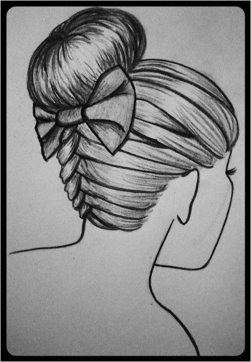 braided bun updo with bow drawing i did