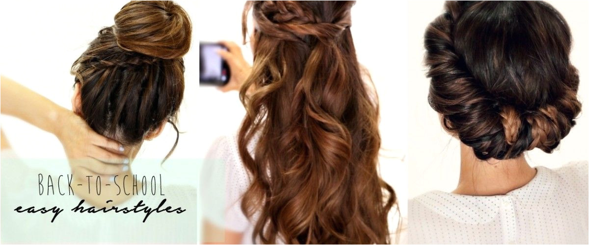 Learn how to do 3 easy back to school hairstyles for medium long hair with cute braids and half up updo Step by step hair tutorial video