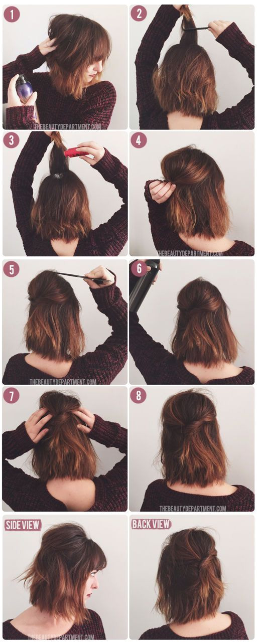Short Hair Half Up in 8 easy steps using this tutorial via thebeautydepartment x
