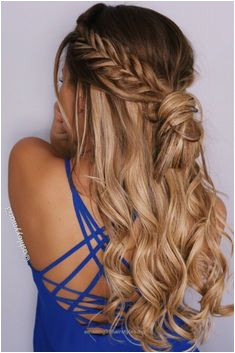 Excellent fishtail braid half up hairstyle braid messy bun hair extensions