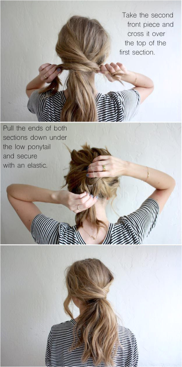 Long Hair Styles for 2017 HAIR TUTORIAL MESSY CROSSOVER PONY Easy Tutorials for Long Hairstyles with Layers or with Bangs Haircuts for Long Hair as