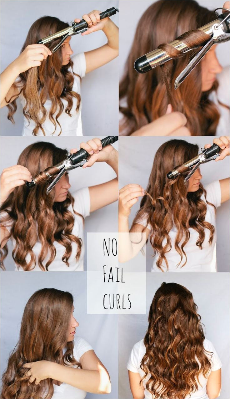 No fail curls spray lightly with hairspray twist around unclamped curling iron except 1 2 inches of the ends of hair hold 20 sec finger b for looser