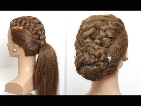 2 Easy Hairstyles For Long Hair Tutorial Ponytail And Updo With Braids