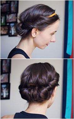 ModaMama Hair Tutorial Easy Headband Updo you can also do this when it s damp and sleep on it to soft curls waves in the morning or wear it all day