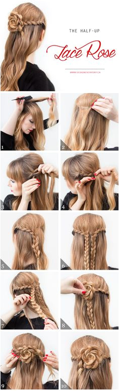 Cool and Easy DIY Hairstyles The Half Up Lace Rose Quick and Easy Ideas