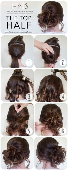 15 Super Easy Hairstyles for Lazy Girls with Tutorials Prom Hair Tutorial Curly Updo