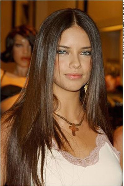 Adriana has incredibly long straight hair This is a classy and formal hairstyle This hairstyle is suitable for thin or medium hair and it is easier to