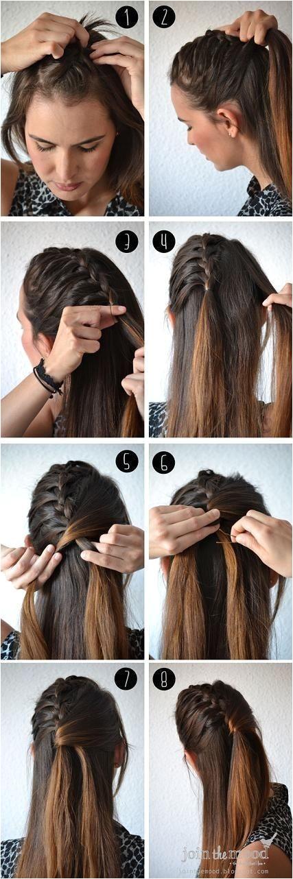 Ponytail Hairstyles Tutorials Fun Half Fishtail Hairstyle