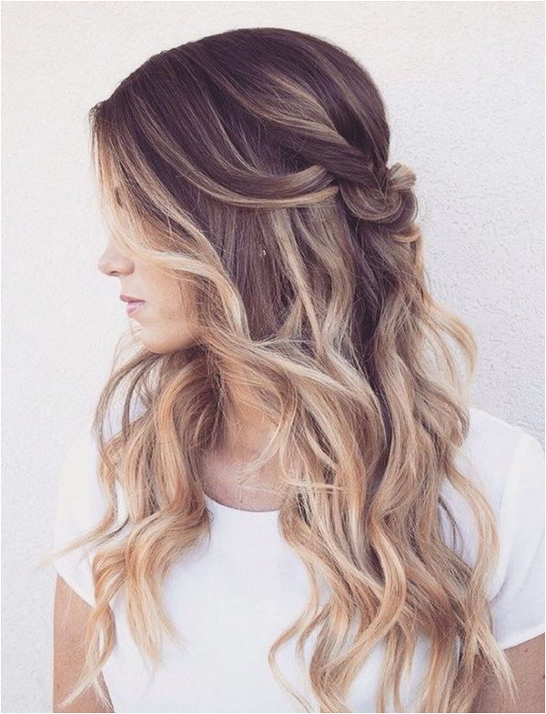 Romantic Half Up Half Down with Loose Waves