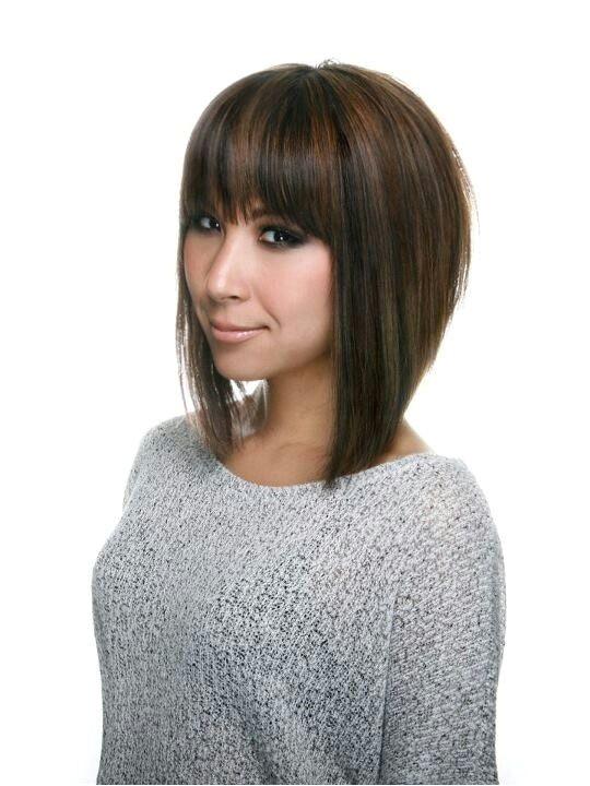 A line bob haircut with bangs Love the cut