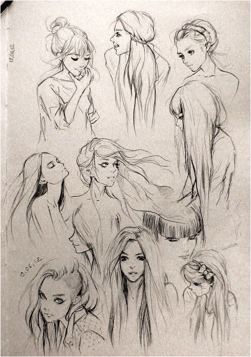 "Fantasy ""Girl"" Hair I love this so much Wanna draw people with this hair"