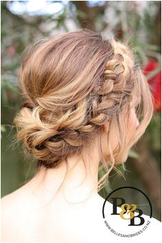 Wedding hair with braid messy bridal updo bridesmaids hair Bridal Hair Braids Plait