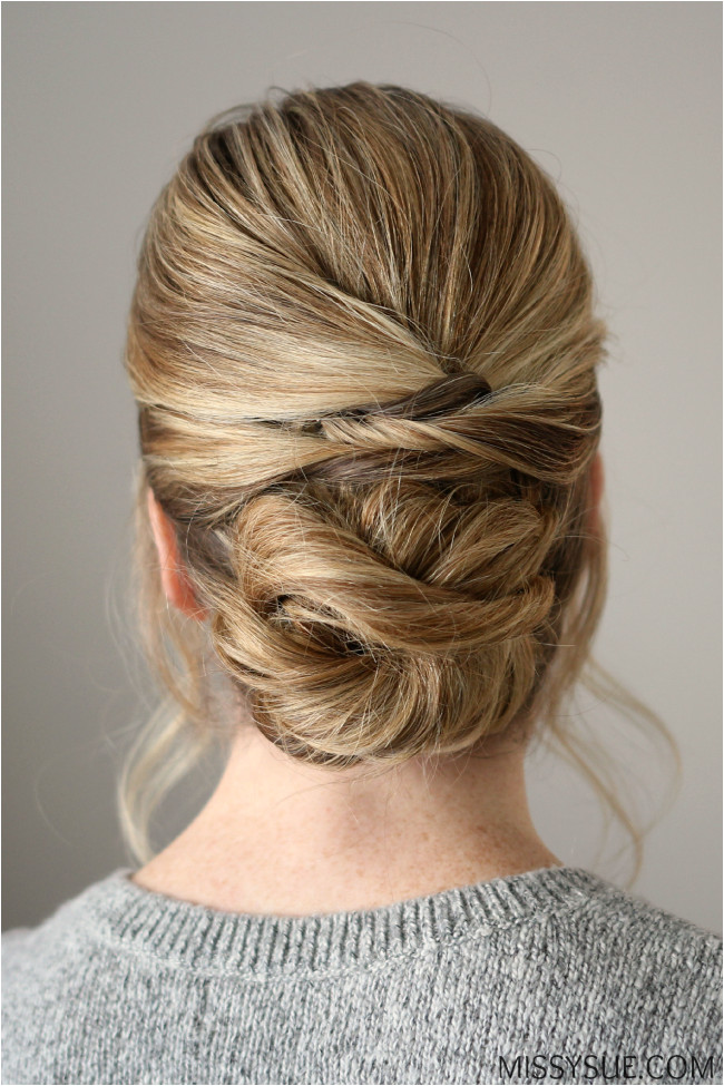 twisted low wrapped bun