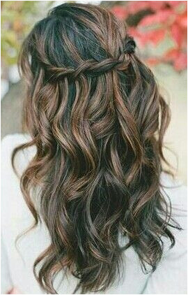 Loose curls and waterfall braid Love