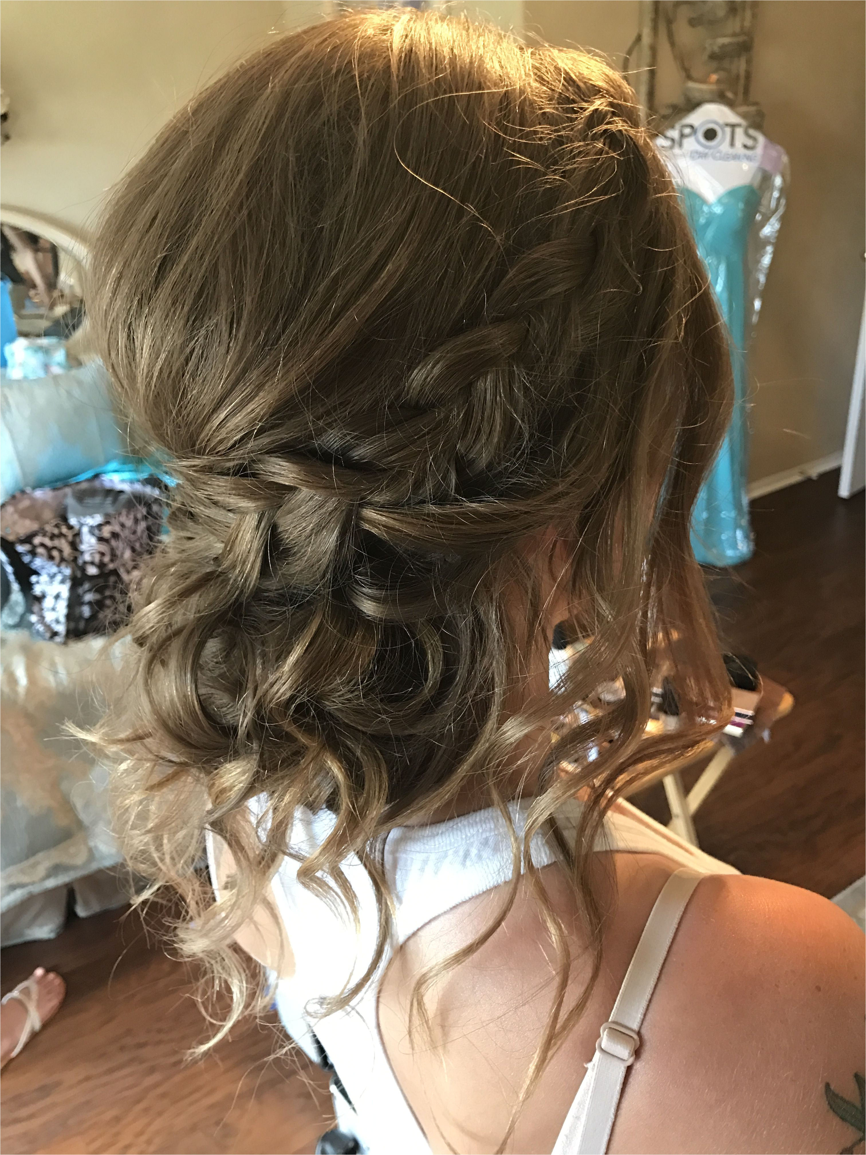 Loose curls updo hairstyle braided hair