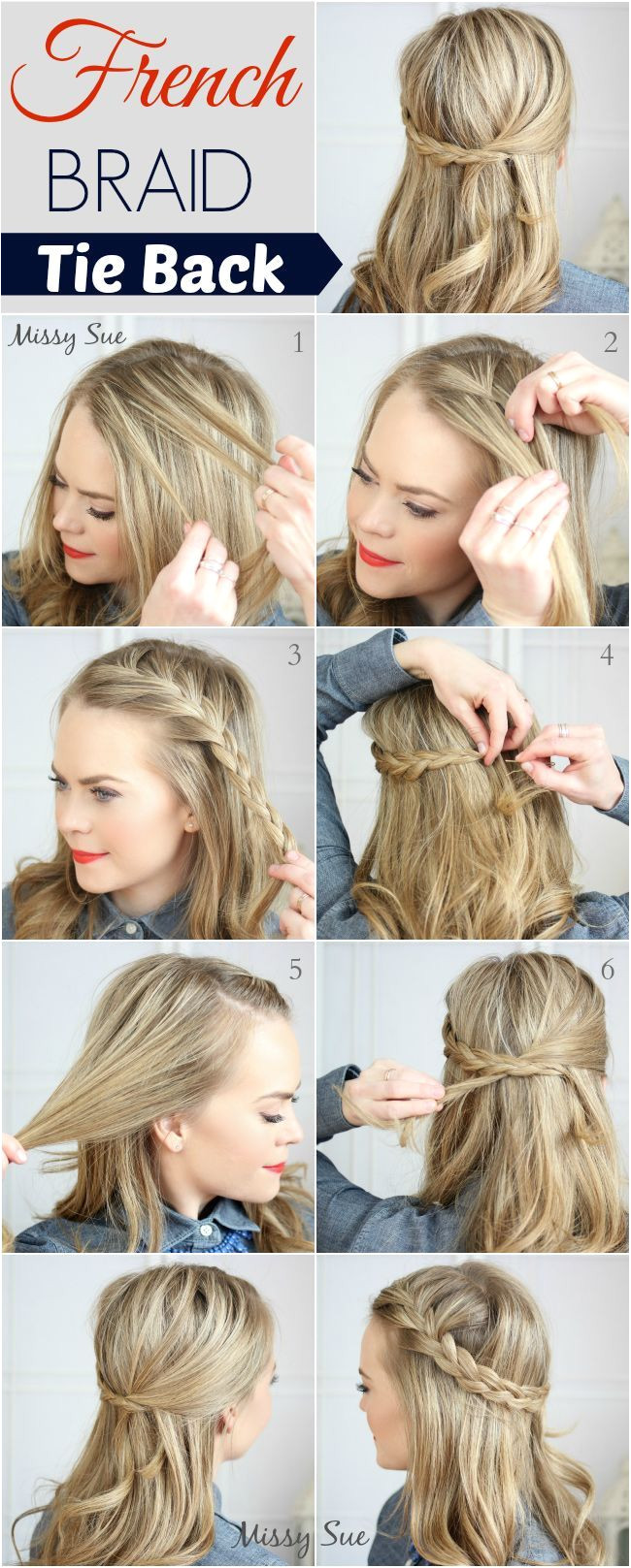 13 DIY Wedding Hairstyles To Try Your Own french braid tie back