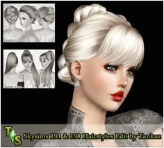 Skysims 191 & 198 Hairstyles Edited by Tankuz Sims 3 Downloads CC Caboodle Download Hair