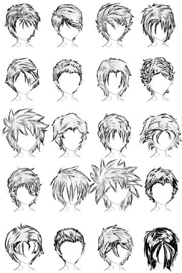 20 Male Hairstyles by LazyCatSleepsDaily on deviantART Male Hairstyles Anime Guy Hairstyles Drawing